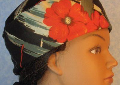 Skull-Orange Flower Brown With Gray Tan Brush Strokes Knit-right