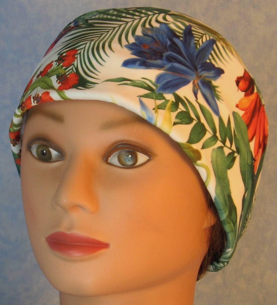 Skull Cap-Pink Orange Blue Orchid Flowers Performance Knit-Adult L