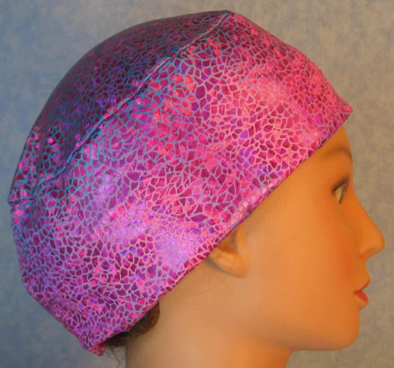 Skull Cap-Pink Sparkle on Turquoise Pink Tie Dye Performance Knit-Adult L