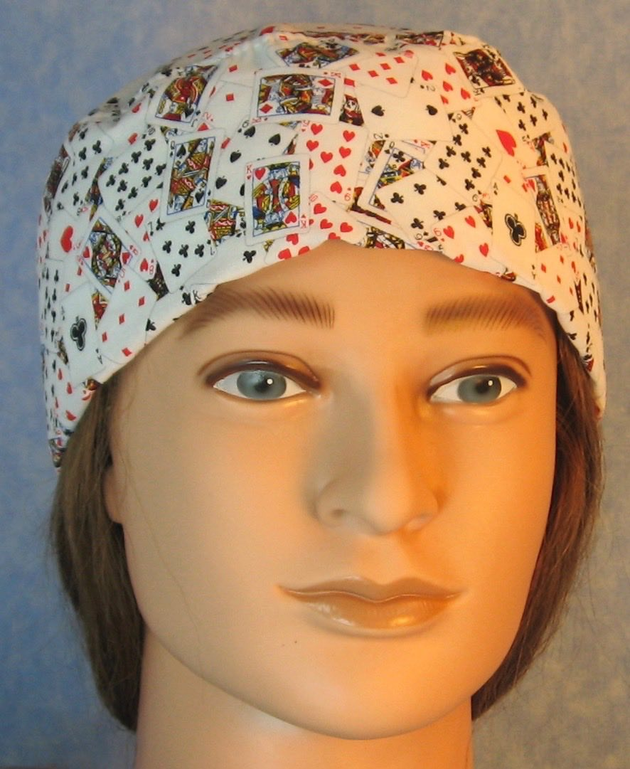 Skull Cap-Playing Cards on White-Adult L