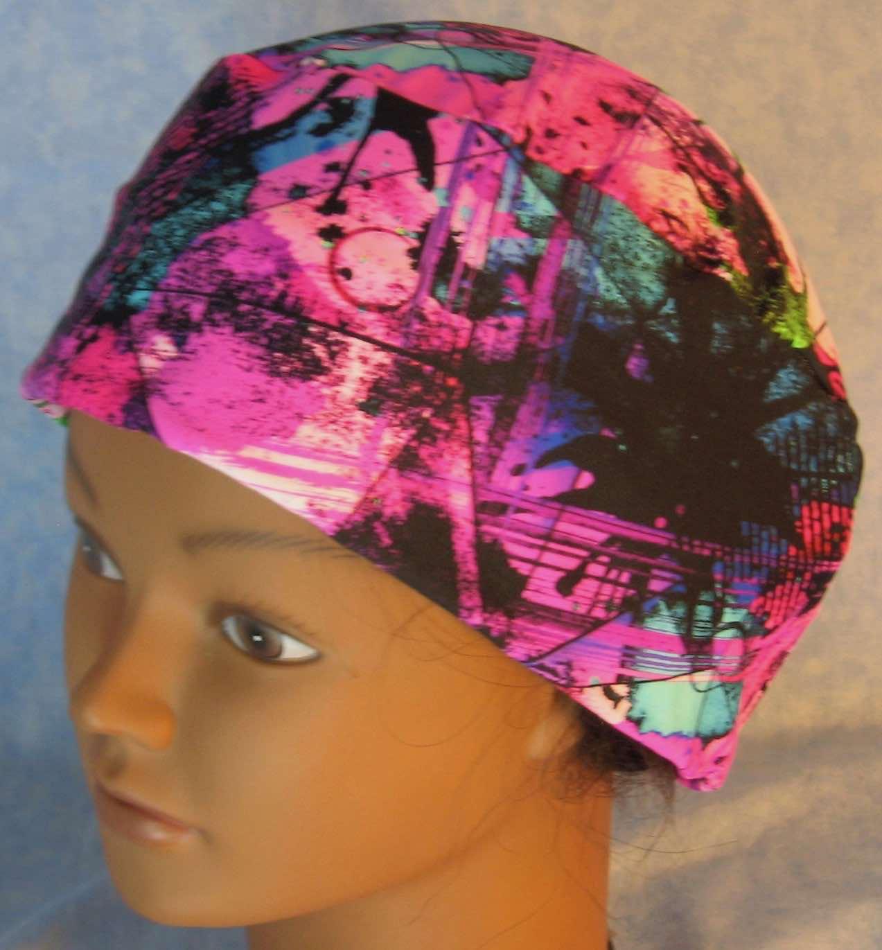 Skull Cap-Purple Pink Triangles with Black Green Blue Splatters Performance Knit-Adult XL