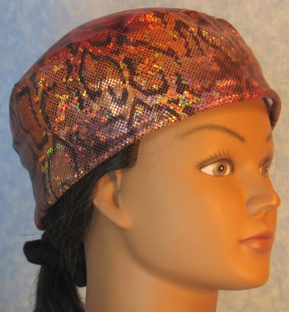 Skull Cap-Red Gold Gray Snake Performance Knit-Adult L