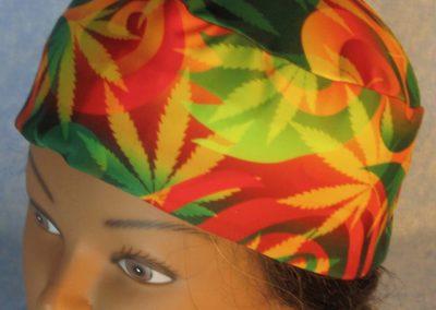 Skull-Red Green Yellow Marijuana Performance Knit-top