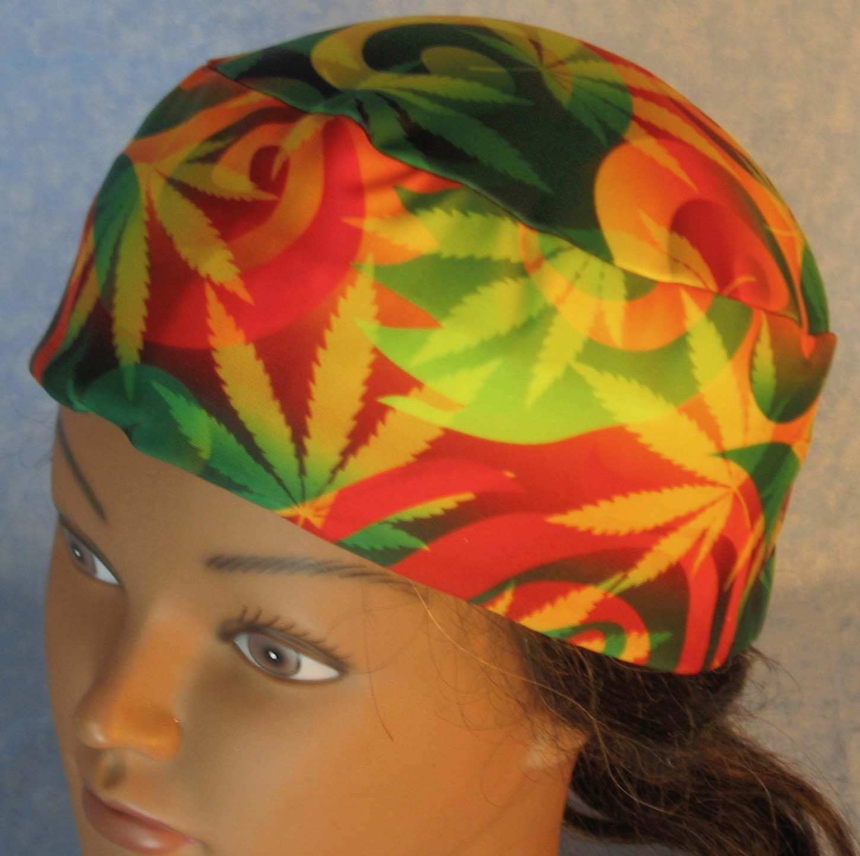 Skull Cap-Red Green Yellow Marijuana Performance Knit-Adult XL