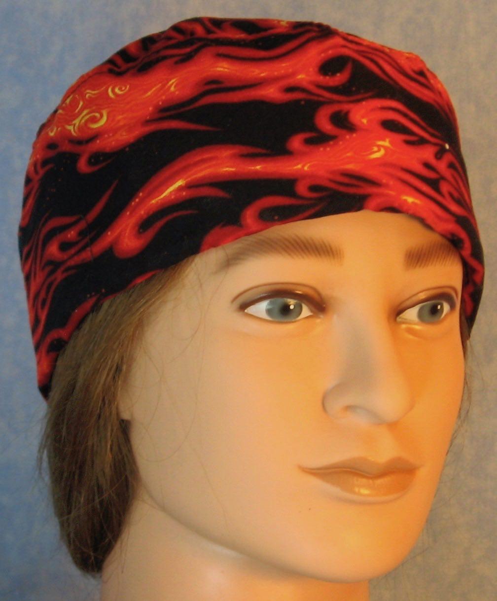 Skull Cap-Red Orange Flame-Adult L