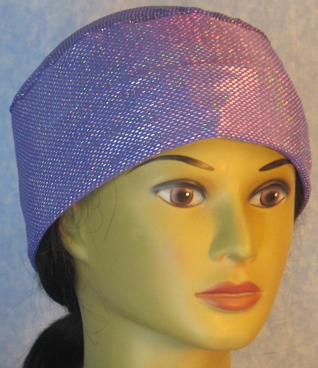 Skull Cap-Silver Dashes on Violet Purple Performance Knit-Adult L