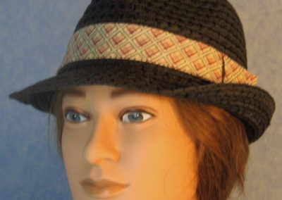 Fedora-Blue Rose Green Line Squares on Cream-front
