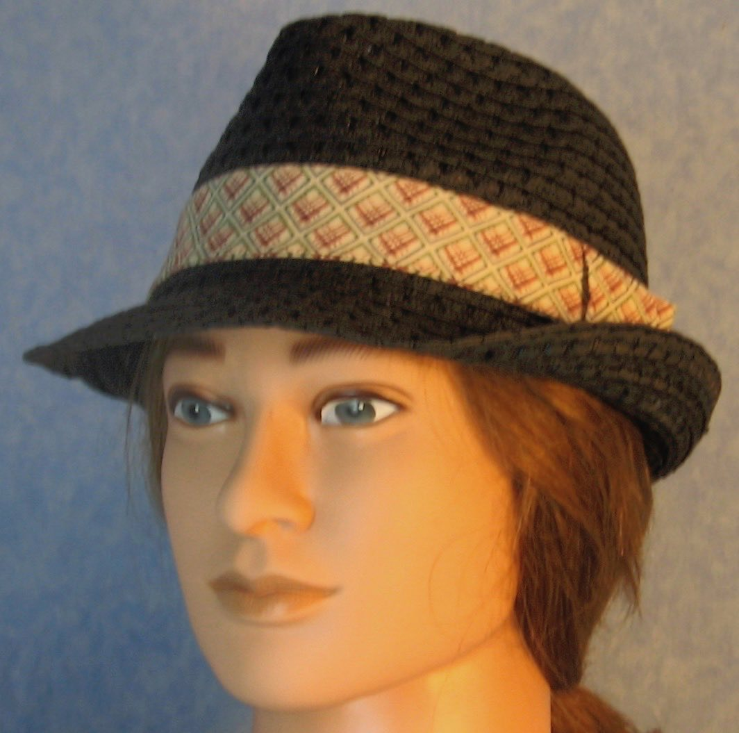 Fedora Hat-Black Paper Braid