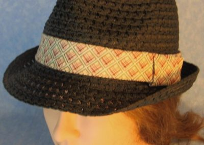 Fedora-Blue Rose Green Line Squares on Cream-top