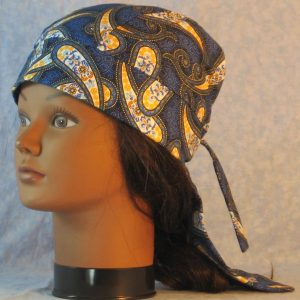 Do Rag in Blue Yellow White Paisley with Small Flowers and Dotted Circle Design-left