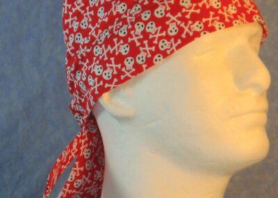 Do Rag in White Skeleton Crossbones on Red-right