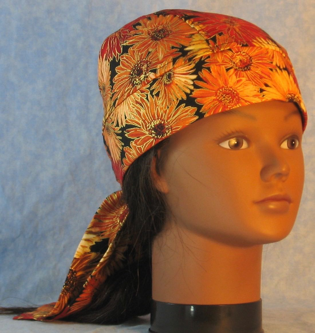 Do Rag in Yellow Orange Red Zinnia Flowers Outlined in Gold on Black-front