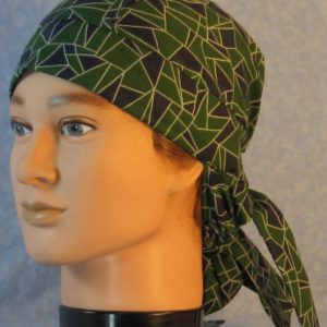 Hair Bag in Green Navy Geometric Triangles with White Outline-front