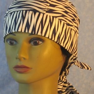 Hair Bag in Navy White Wavy Bands Twisted-front