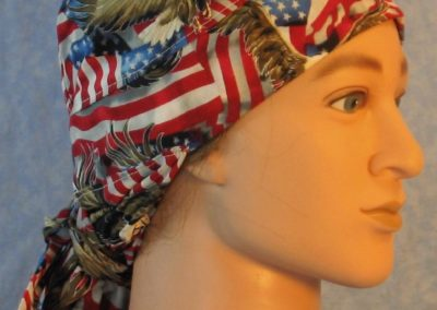 Hair Bag in Red White Blue Big Eagle on Big Wavy Flags-right