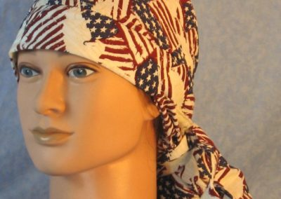 """Hair Bag in Red White Blue on Wavy Flags with White Eagles """"We The People""""-front"""