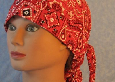 Hair Bag in Red with White Black Bandana-front