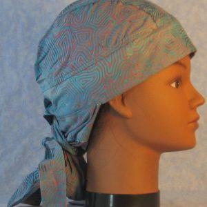 Hair Bag in Turquoise Pink Lavender Ripple Spirals Batik-right