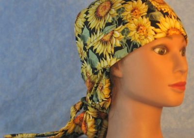 Hair Bag in Yellow Sunflower Green Leaves on Black-right