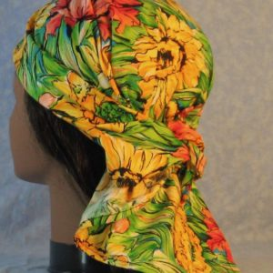 Head Wrap in Big Yellow Pink Flower with Green Leaves-back