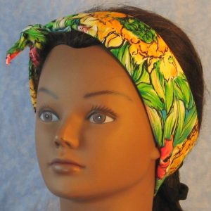 Head Wrap in Big Yellow Pink Flower with Green Leaves-headband