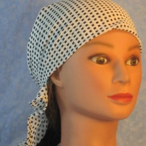 Head Wrap in Black Diamond on White-front
