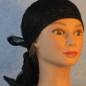 Head Wrap in Black Flower Diamond Geometric Lace-front