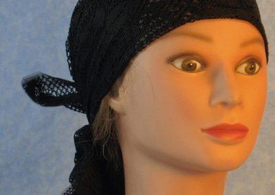 Head Wrap in Black Flower Diamond Geometric Lace-front