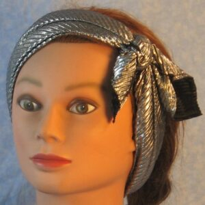 Head Wrap in Black Silver Crinkle-silver out headband