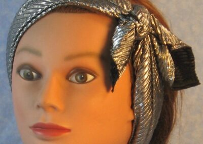 Head Wrap in Black Silver Crinkle-silver out headband