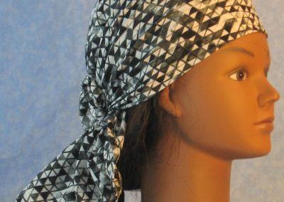 Head Wrap in Black White Gray Triangles-right