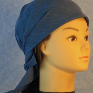 Head Wrap in Blue Green Muted Plaid-front