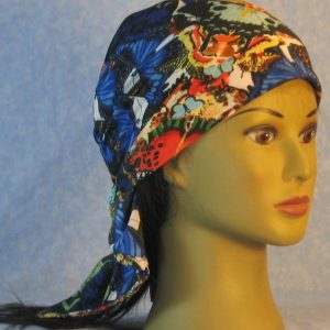Head Wrap in Blue Orange Yellow Butterflies Reflected-front