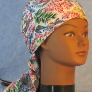 Head Wrap in Blue Red Flowery Branches with Birds-right