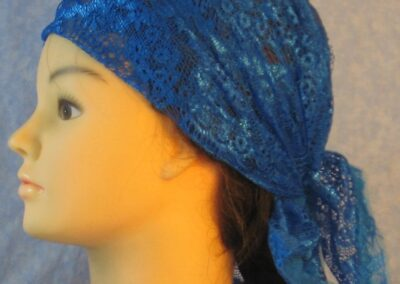 Head Wrap in Blue Scolloped with Flowers Lace with Tulle-left