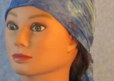 Head Wrap in Blue with Shiny Ice-blue Flowers-front