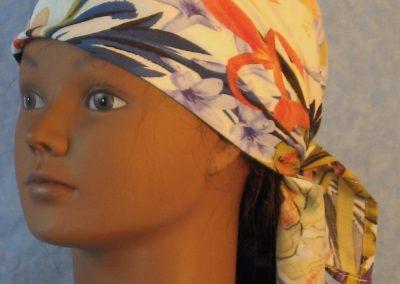 Head Wrap in Mustard Purple Blue Orange Flower Lily Daffodil-front
