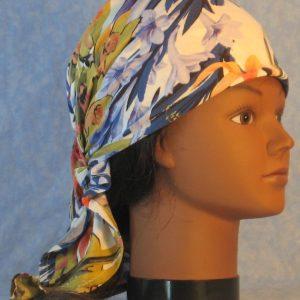 Head Wrap in Mustard Purple Blue Orange Flower Lily Daffodil-right