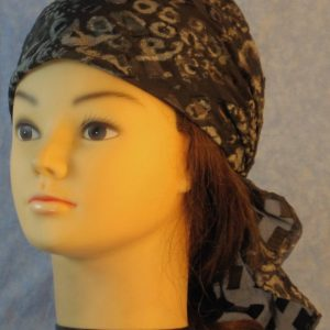 Head Wrap in Olive Cream Gray Animal Sheer with Satin Rectangles-left