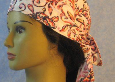 Head Wrap in Orange Pink Navy Flower Paisley Folk-left