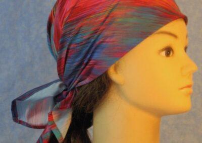 Head Wrap in Pink Rose Turquoise Blue Brushstroke Pattern-right