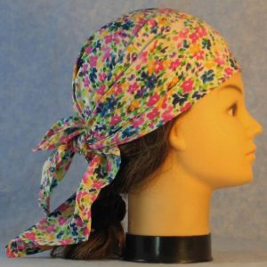 Head Wrap in Pink Yellow Blue Flowers on White-right