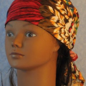 Head Wrap in Red Yellow Brown White Feathers-front