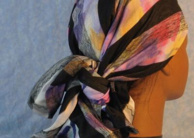 Head Wrap in Stripe Black Gray over Purple Pink Yellow Design Reversible Black Gray White with Tulle-purple out back