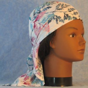 Head Wrap in Turquoise Navy Mauve Pink Leaves Fern on White-right