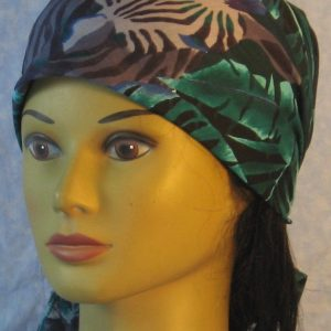 Head Wrap in Zebra in Turquoise Gray Big Leaves-front