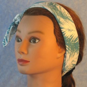 Head Wraps in Turquoise White Frondy Palm Leaves-headband left