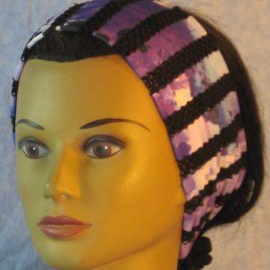 Headband in Black Purple Stripe Loops-front