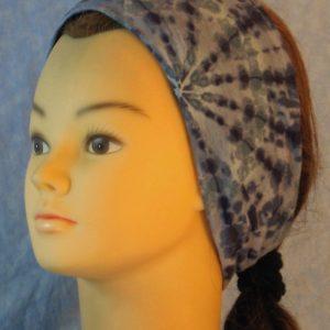Headband in Blue Gray Tie Dye Radiating-left