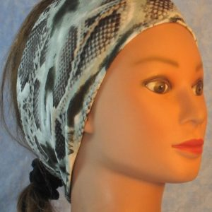 Headband in Dark Green Cream Snake Skin-right